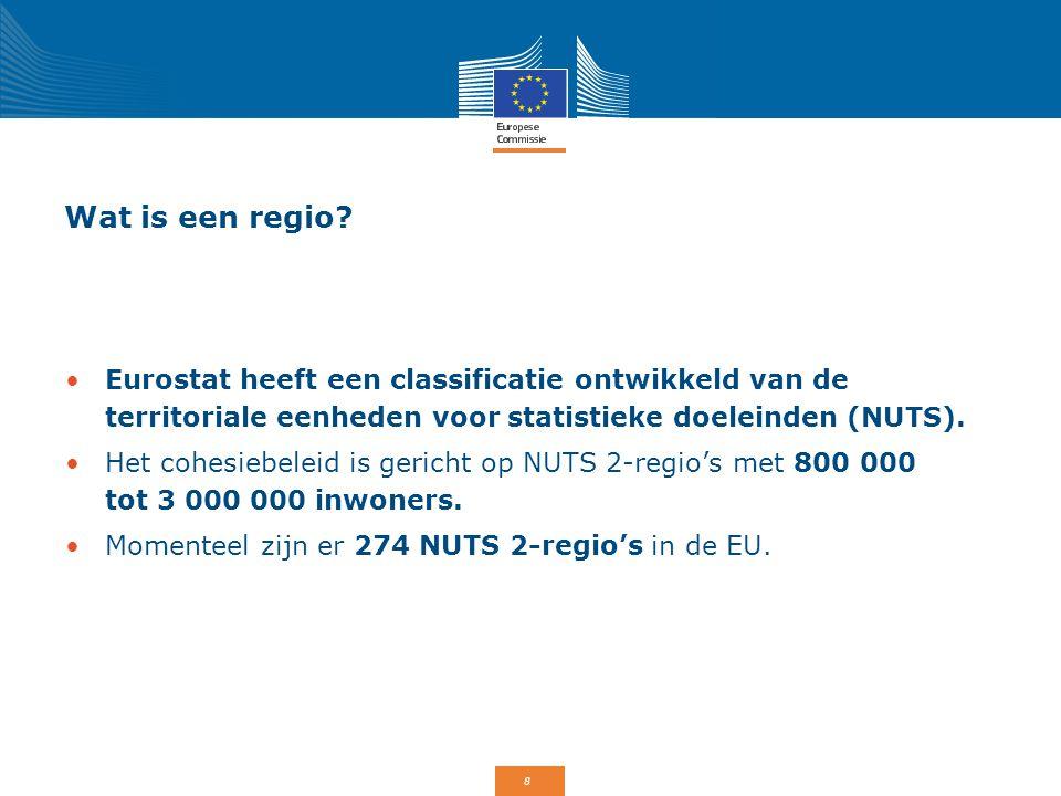 Wat is een regio Eurostat heeft een classificatie ontwikkeld van de territoriale eenheden voor statistieke doeleinden (NUTS).