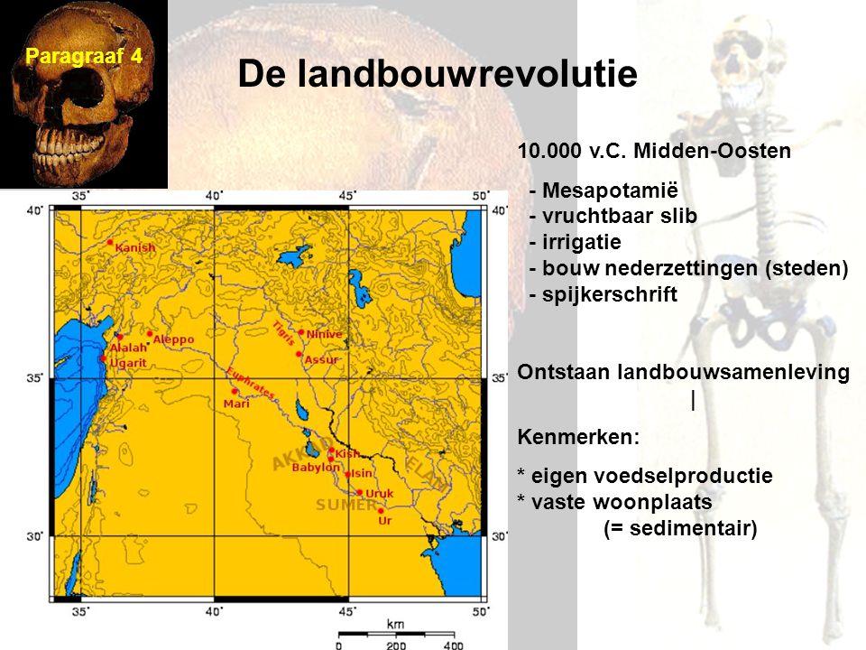 De landbouwrevolutie Paragraaf 4 10.000 v.C. Midden-Oosten