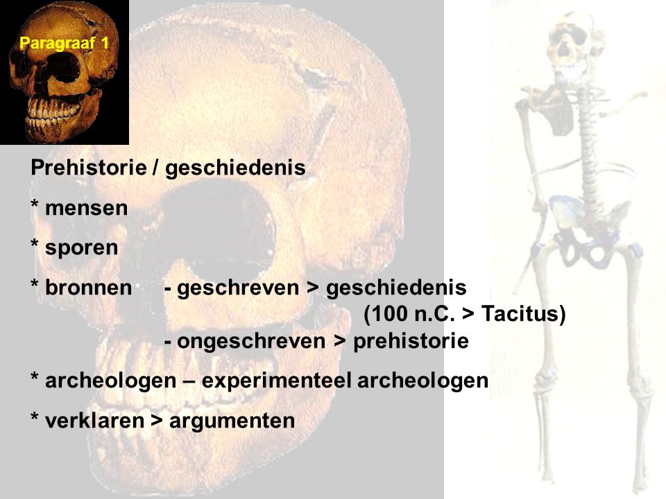 Prehistorie / geschiedenis * mensen * sporen