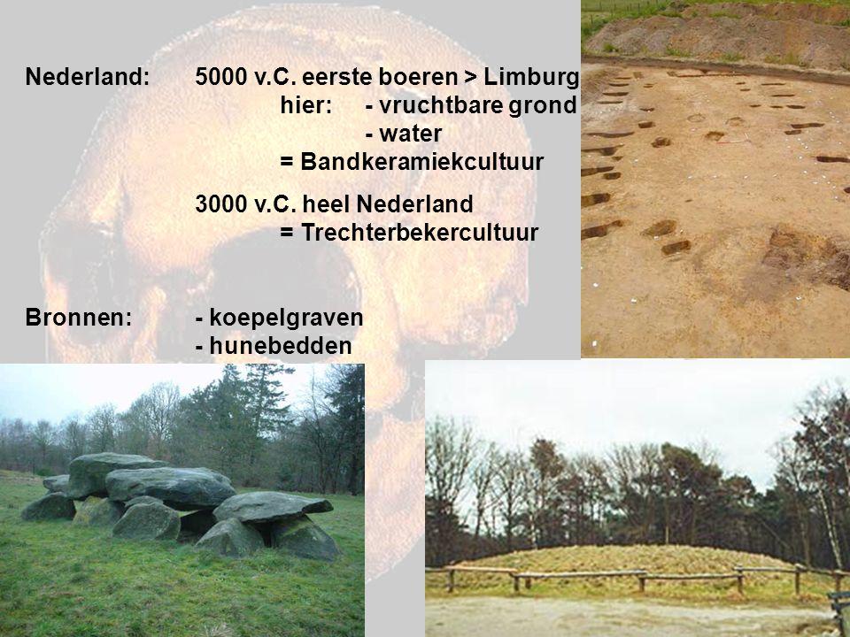 Nederland:. 5000 v. C. eerste boeren > Limburg. hier: