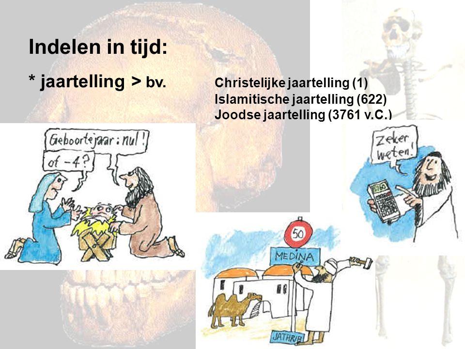 Indelen in tijd: * jaartelling > bv. Christelijke jaartelling (1) Islamitische jaartelling (622) Joodse jaartelling (3761 v.C.)