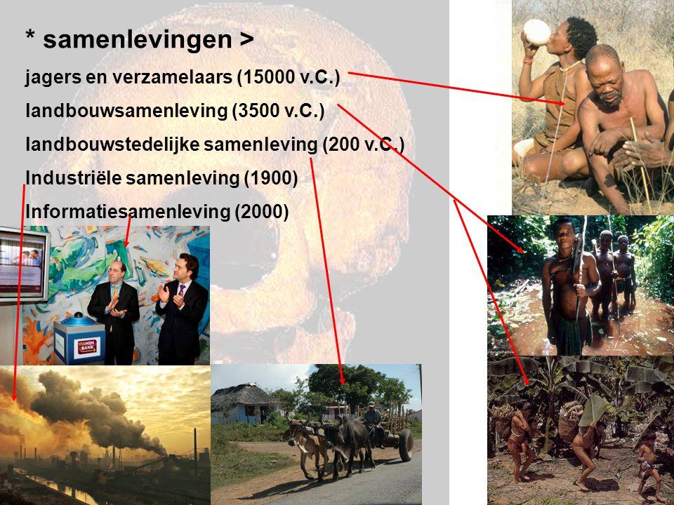 * samenlevingen > jagers en verzamelaars (15000 v.C.)