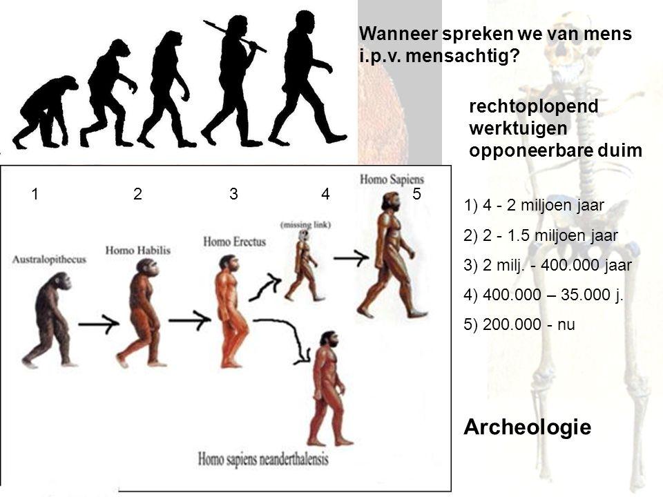 Archeologie Wanneer spreken we van mens i.p.v. mensachtig