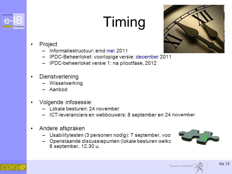 Timing 4 Project Dienstverlening Volgende infosessie: Andere afspraken
