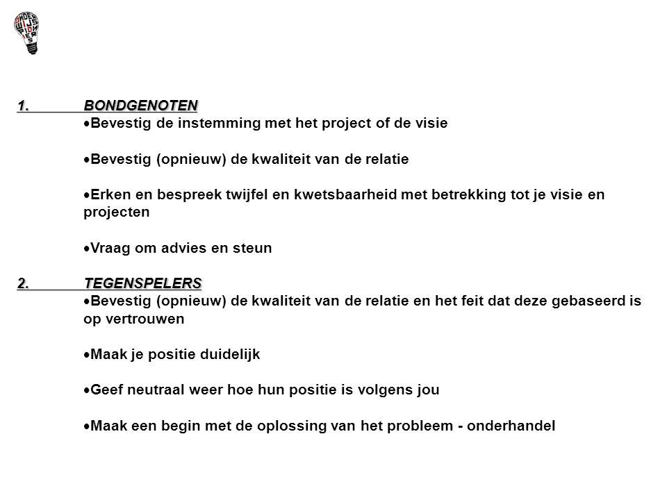 1. BONDGENOTEN Bevestig de instemming met het project of de visie. Bevestig (opnieuw) de kwaliteit van de relatie.