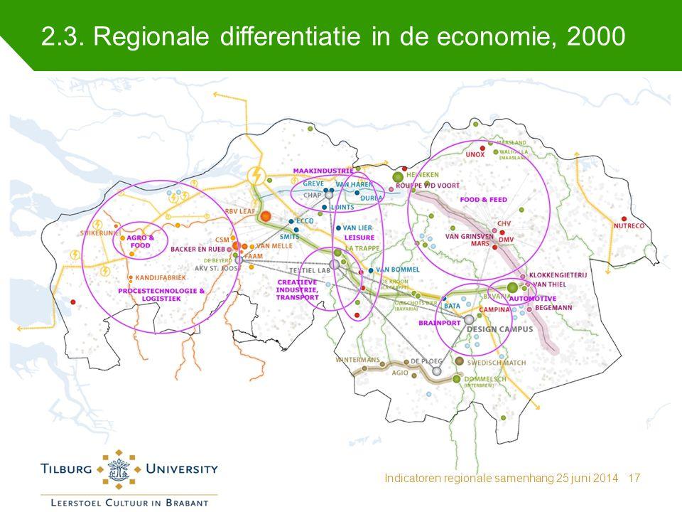 2.3. Regionale differentiatie in de economie, 2000