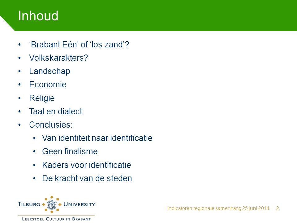 Inhoud 'Brabant Eén' of 'los zand' Volkskarakters Landschap Economie