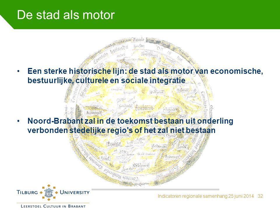 De stad als motor Een sterke historische lijn: de stad als motor van economische, bestuurlijke, culturele en sociale integratie.