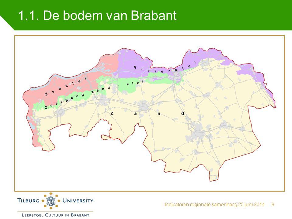 1.1. De bodem van Brabant Indicatoren regionale samenhang 25 juni 2014