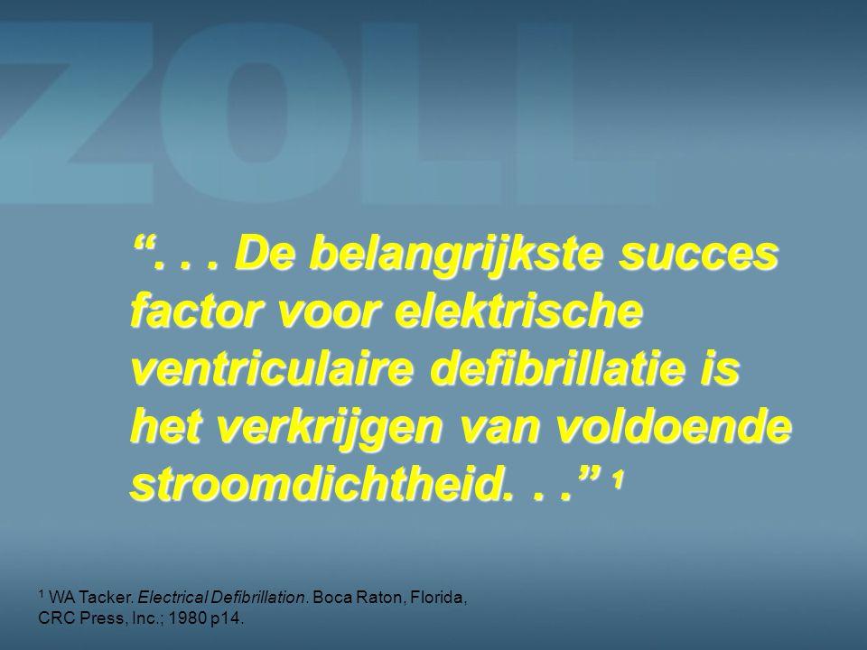 . . . De belangrijkste succes factor voor elektrische ventriculaire defibrillatie is het verkrijgen van voldoende stroomdichtheid. . . 1
