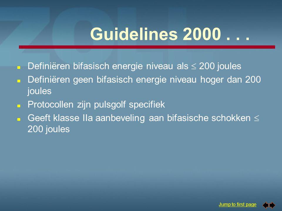 Guidelines 2000 . . . Definiëren bifasisch energie niveau als  200 joules. Definiëren geen bifasisch energie niveau hoger dan 200 joules.