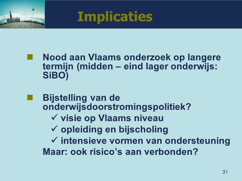Implicaties Nood aan Vlaams onderzoek op langere termijn (midden – eind lager onderwijs: SiBO) Bijstelling van de onderwijsdoorstromingspolitiek