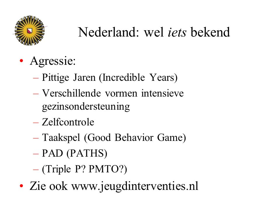 Nederland: wel iets bekend
