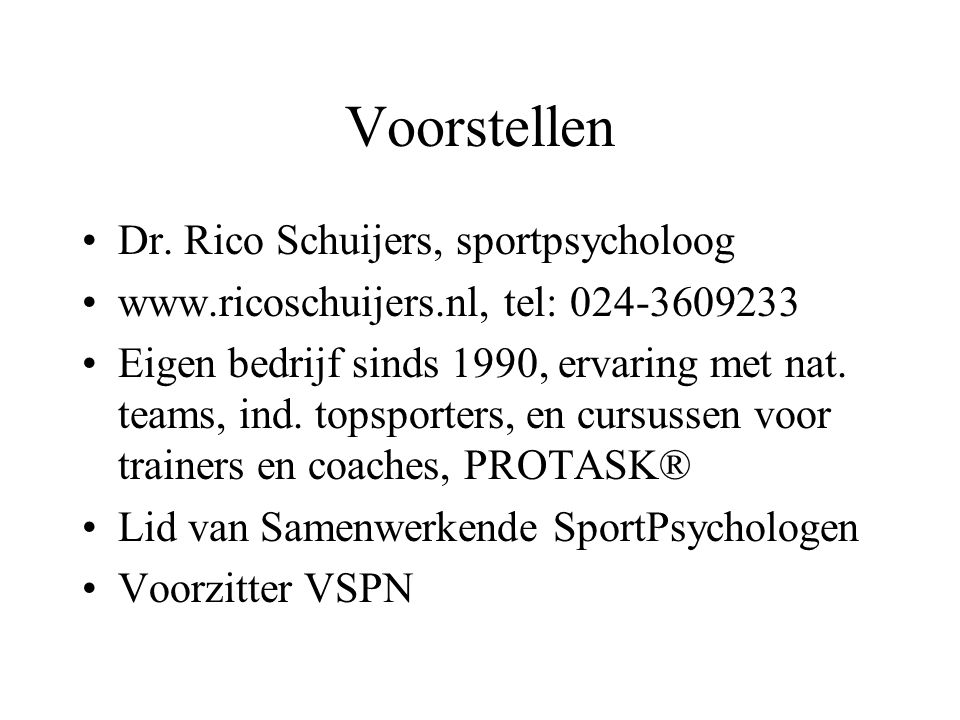 Voorstellen Dr. Rico Schuijers, sportpsycholoog