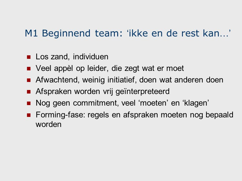 M1 Beginnend team: 'ikke en de rest kan…'