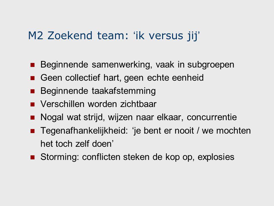 M2 Zoekend team: 'ik versus jij'