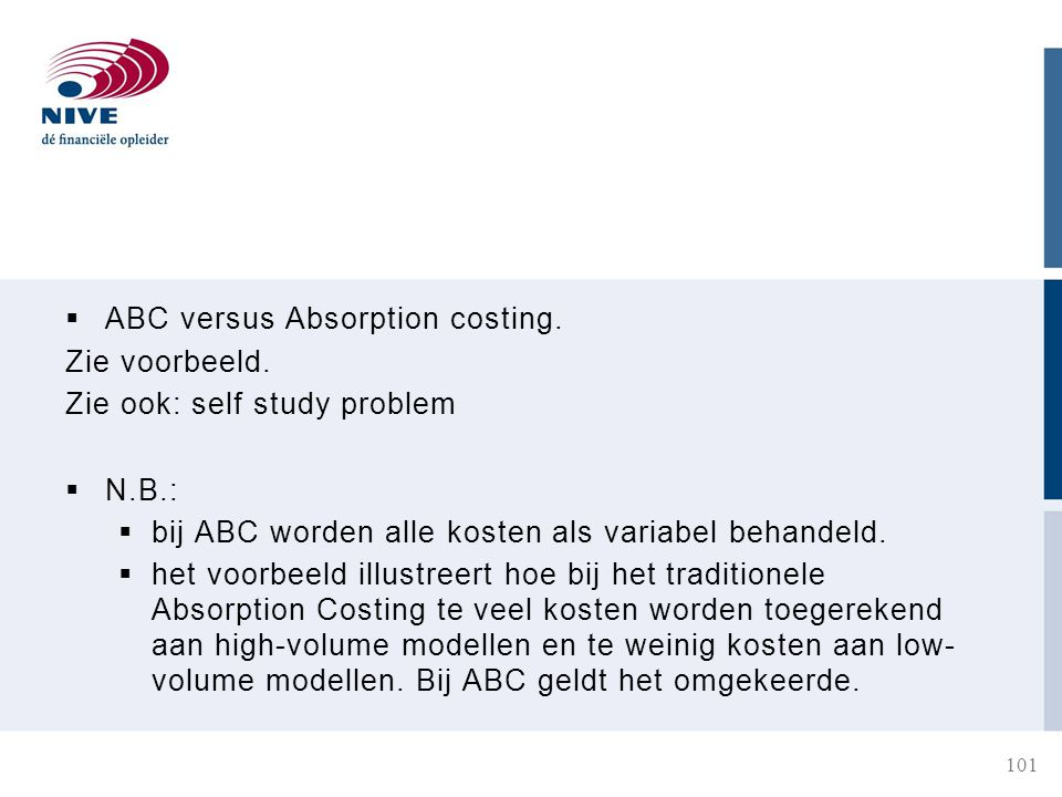 ABC versus Absorption costing.