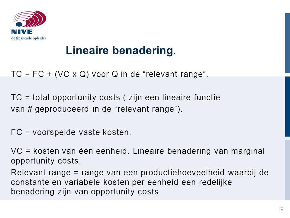 Lineaire benadering. TC = FC + (VC x Q) voor Q in de relevant range .
