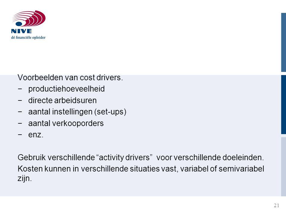 Voorbeelden van cost drivers.