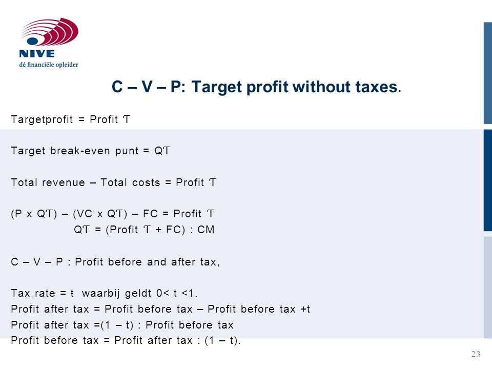 C – V – P: Target profit without taxes.