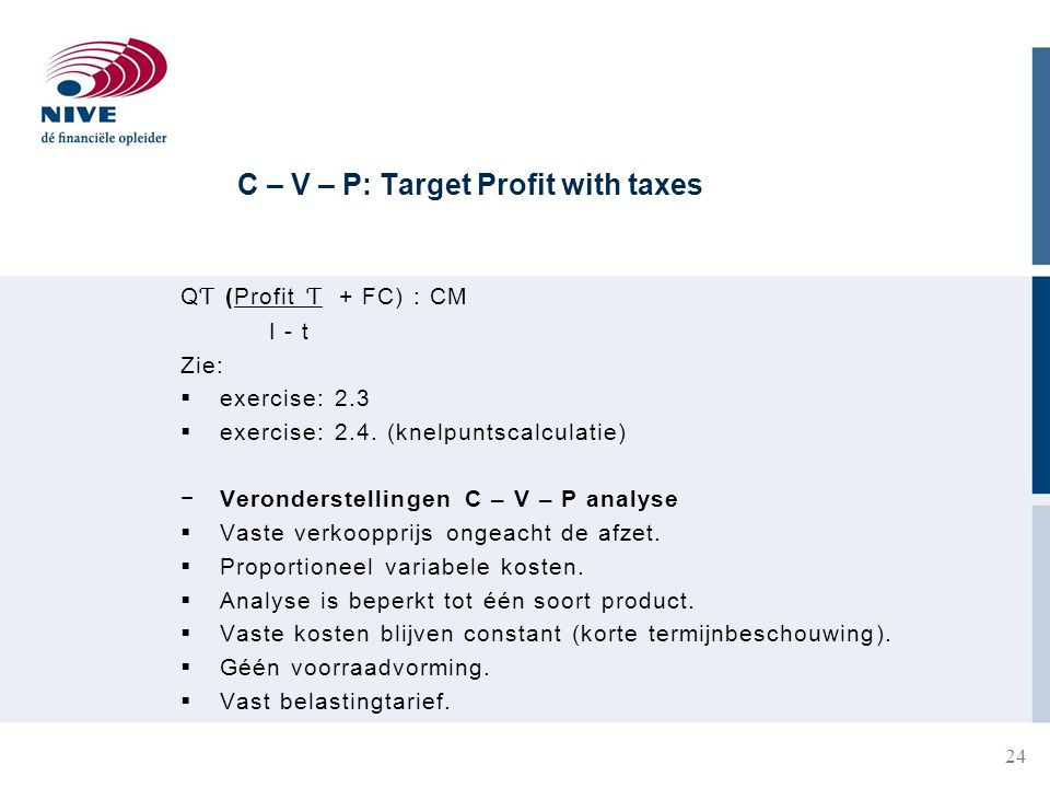 C – V – P: Target Profit with taxes