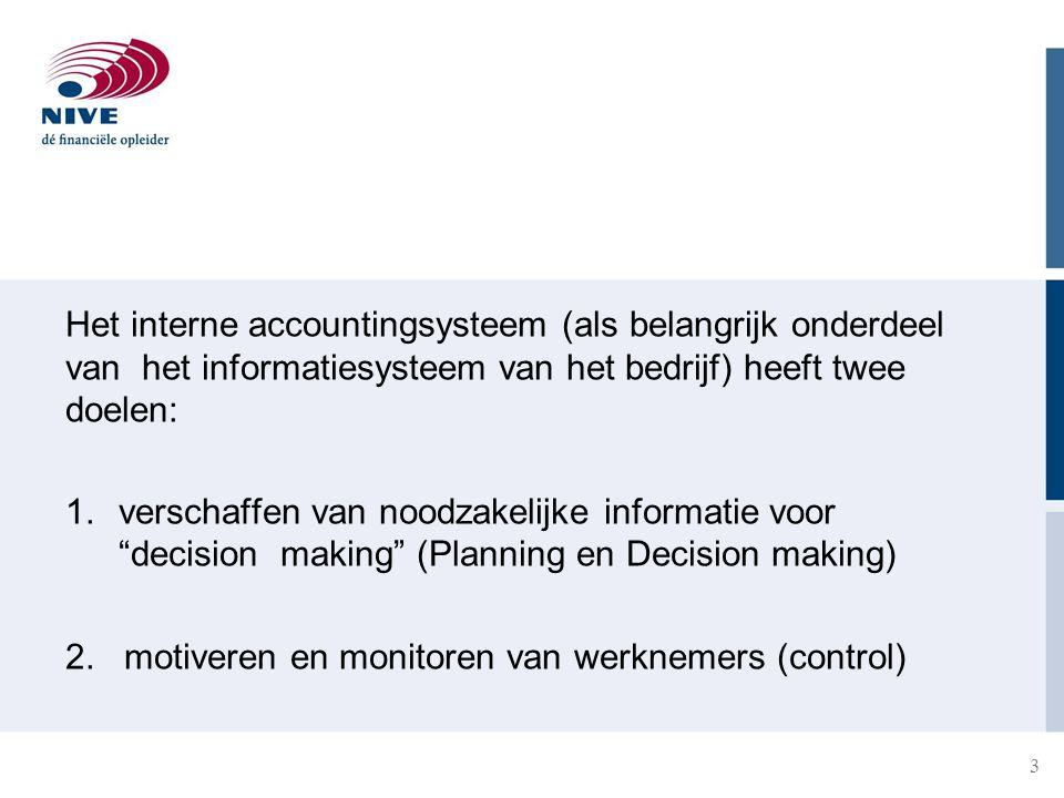 Het interne accountingsysteem (als belangrijk onderdeel van het informatiesysteem van het bedrijf) heeft twee doelen: