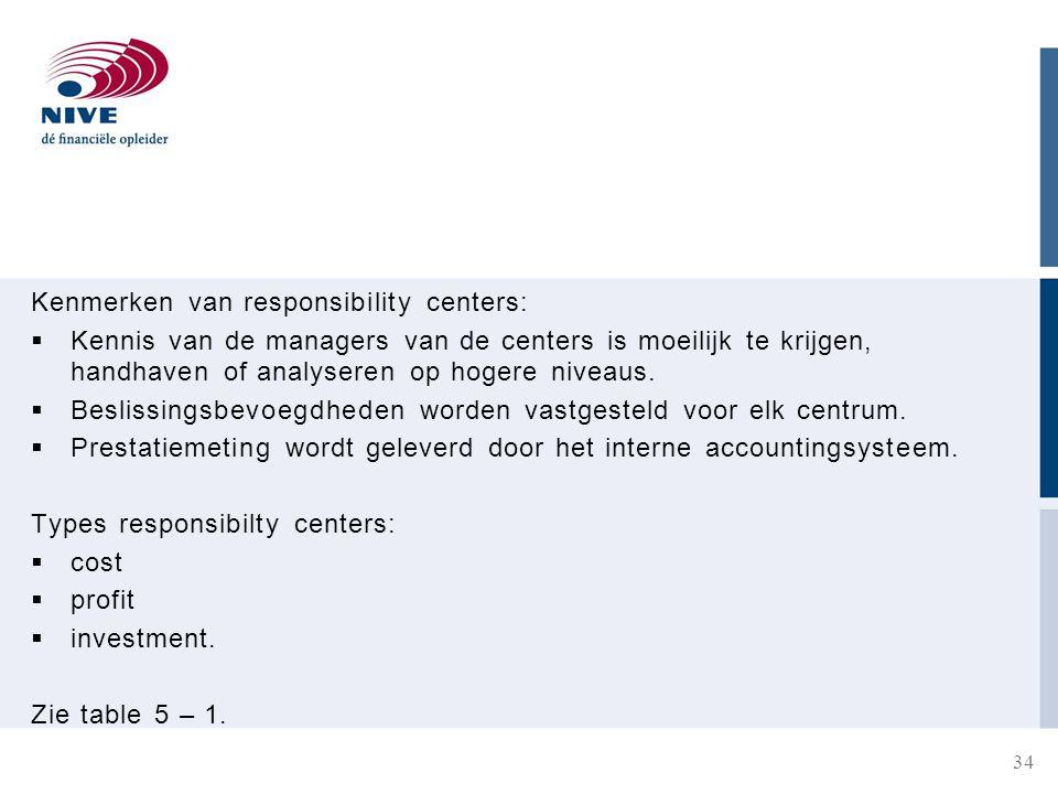 Kenmerken van responsibility centers: