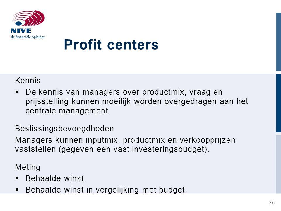Profit centers Kennis.