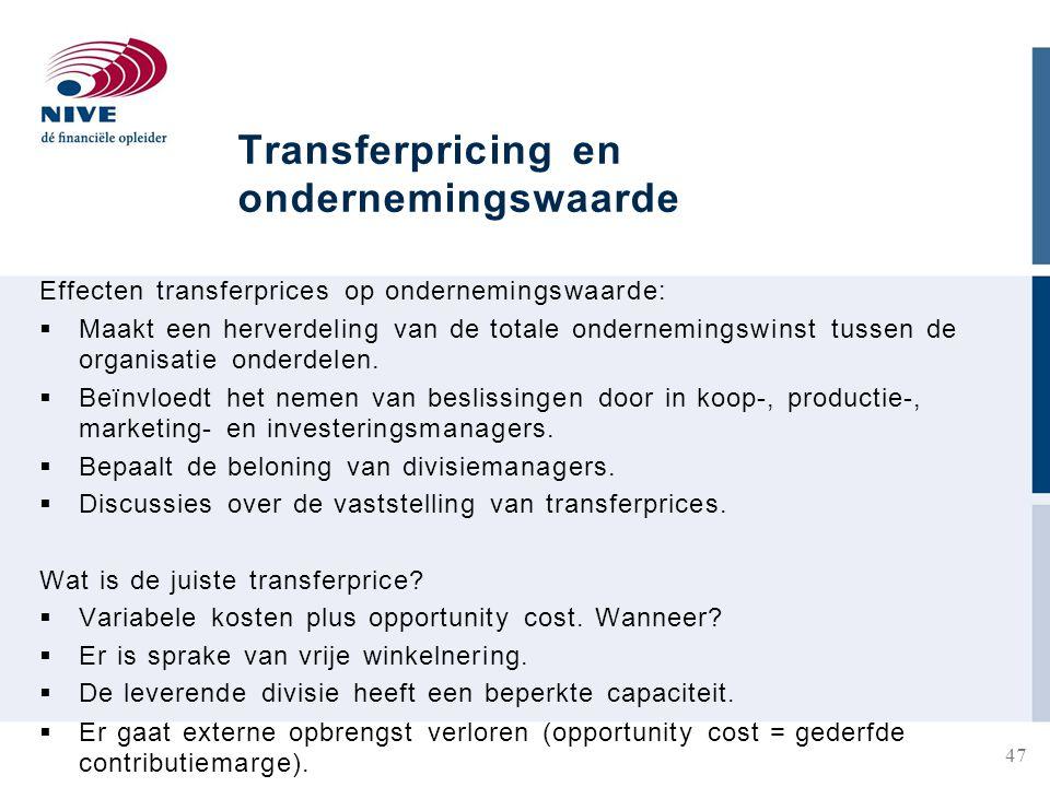 Transferpricing en ondernemingswaarde