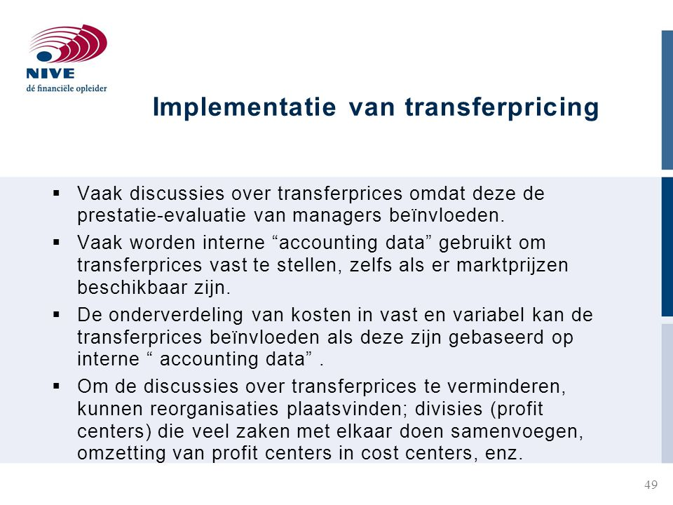 Implementatie van transferpricing