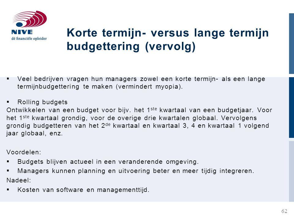 Korte termijn- versus lange termijn budgettering (vervolg)