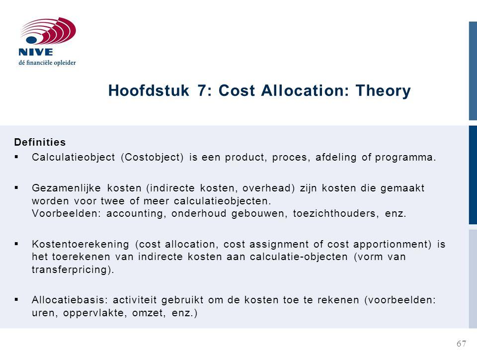 Hoofdstuk 7: Cost Allocation: Theory