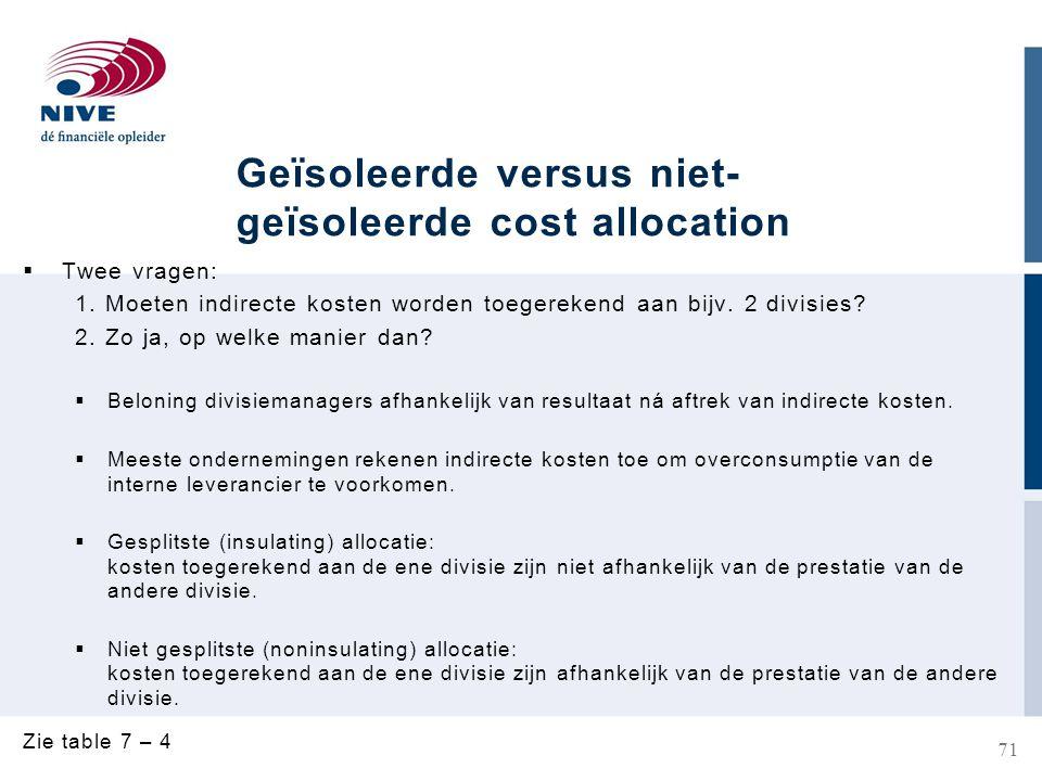 Geïsoleerde versus niet-geïsoleerde cost allocation