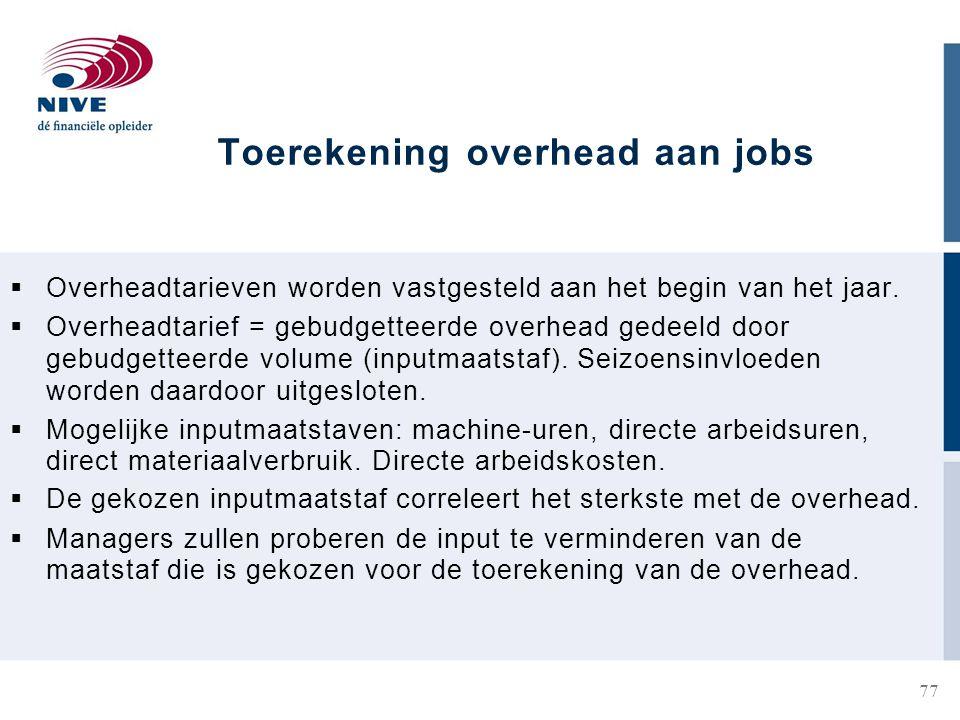 Toerekening overhead aan jobs