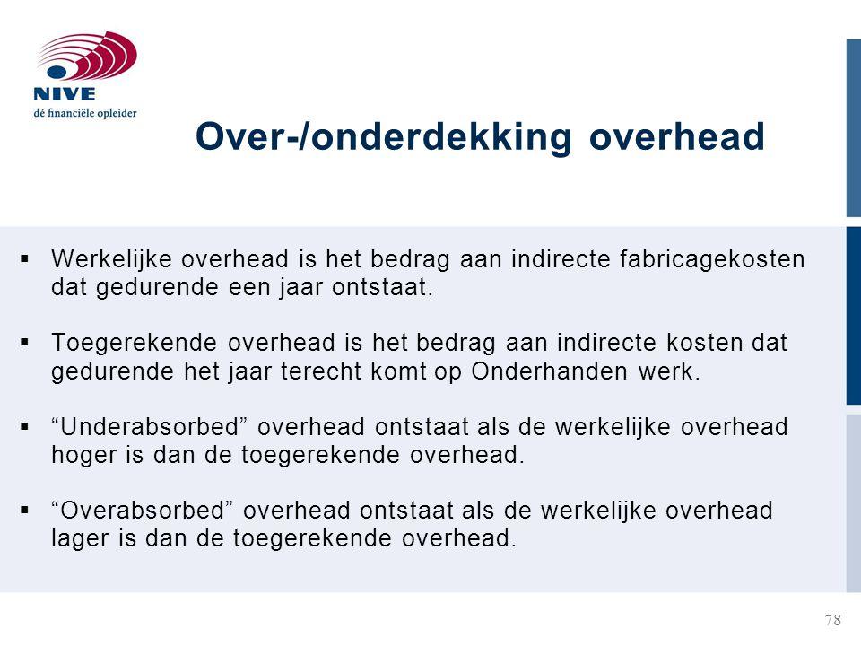Over-/onderdekking overhead
