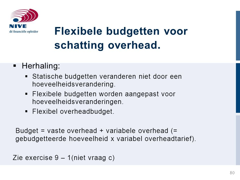 Flexibele budgetten voor schatting overhead.