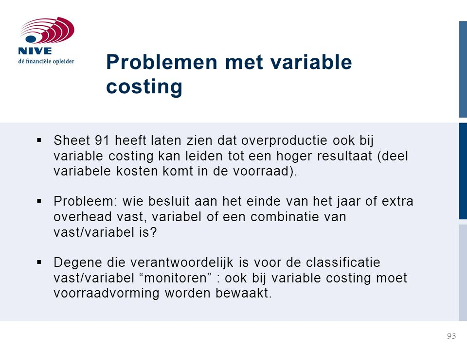 Problemen met variable costing