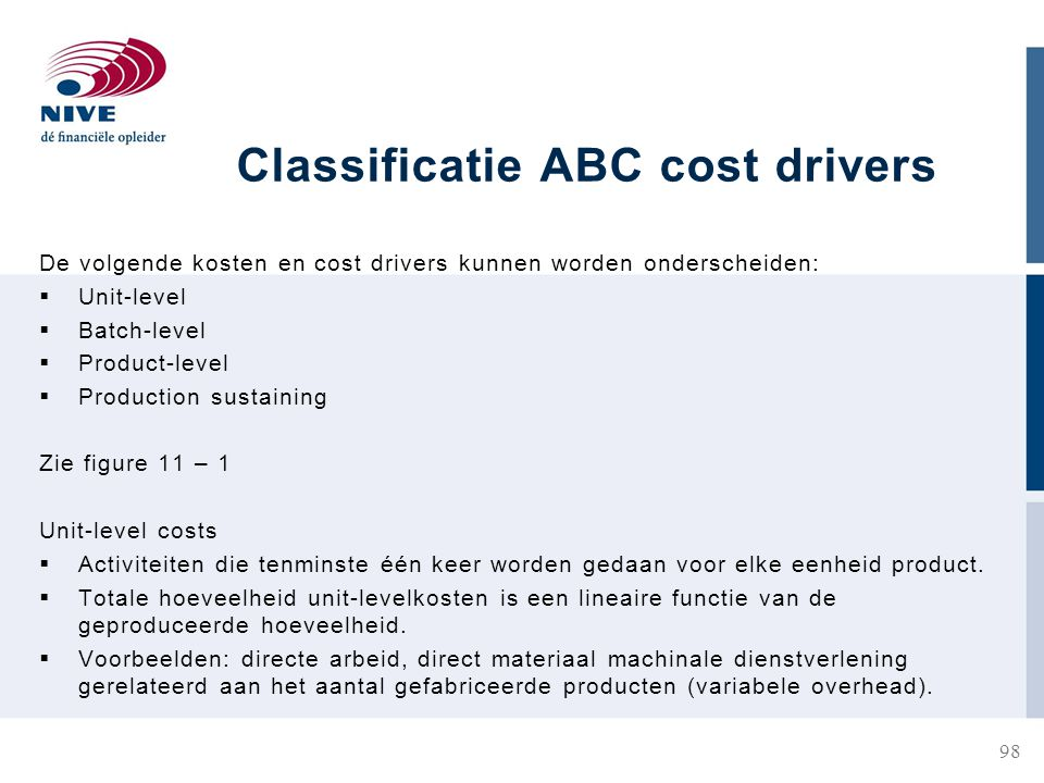 Classificatie ABC cost drivers