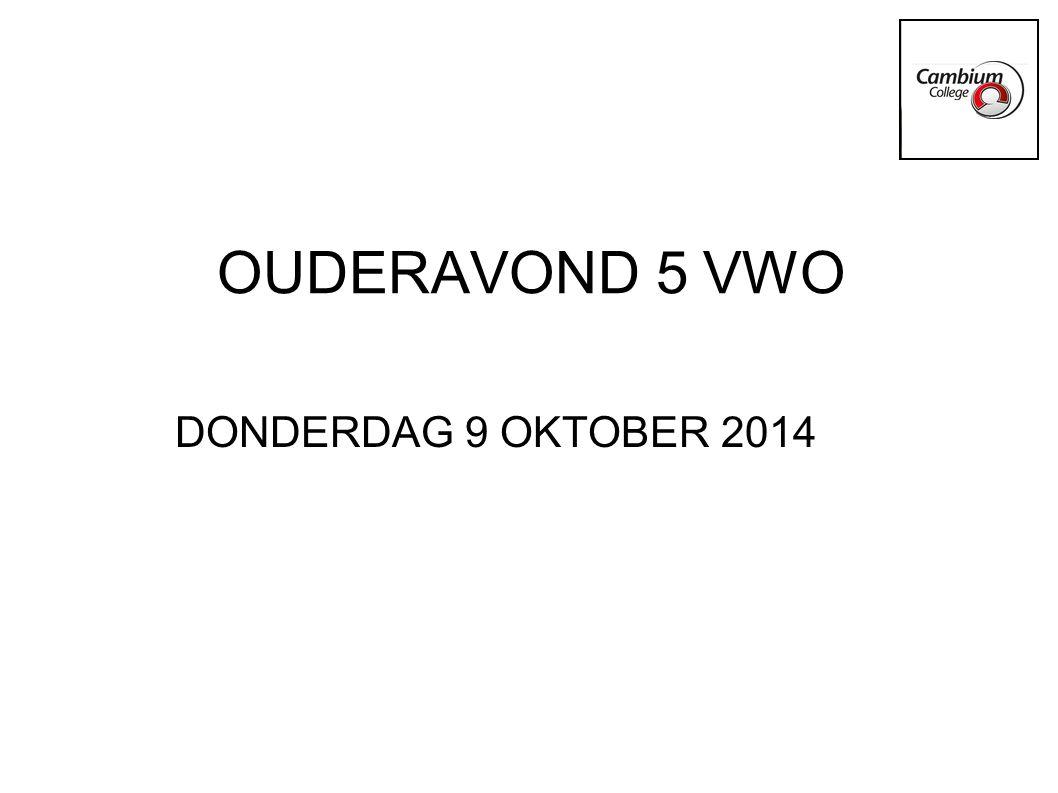 OUDERAVOND 5 VWO DONDERDAG 9 OKTOBER 2014
