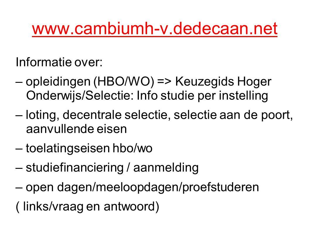 www.cambiumh-v.dedecaan.net Informatie over: