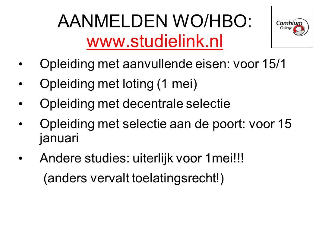 AANMELDEN WO/HBO: www.studielink.nl