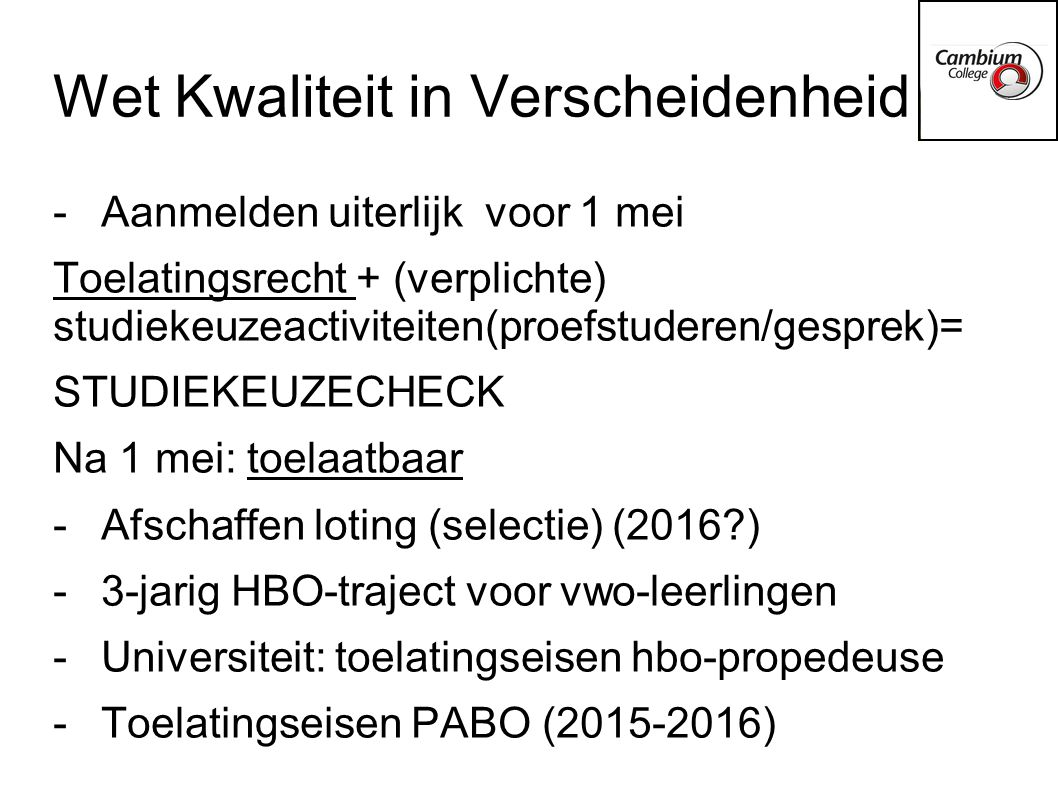 Wet Kwaliteit in Verscheidenheid
