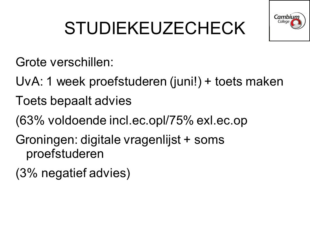STUDIEKEUZECHECK