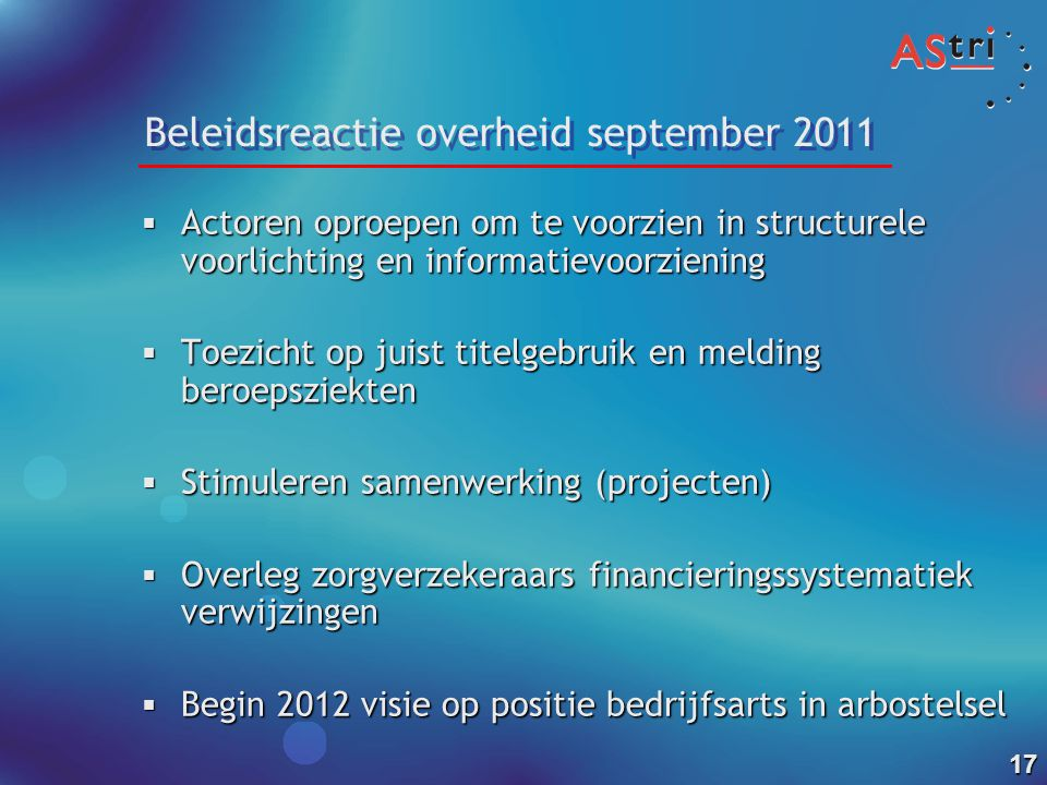 Beleidsreactie overheid september 2011