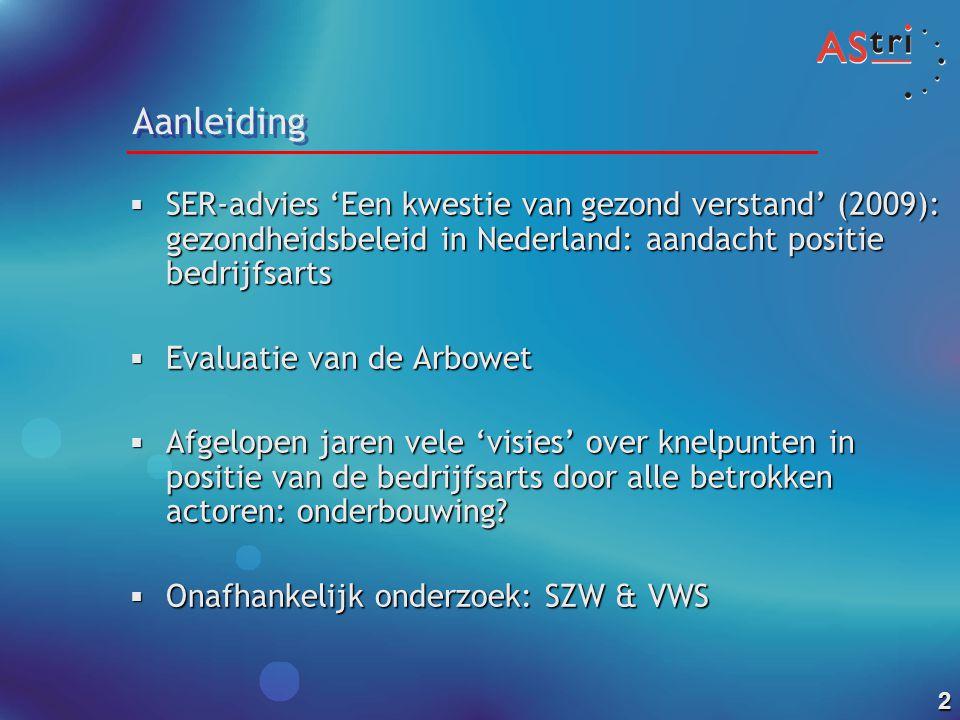Aanleiding SER-advies 'Een kwestie van gezond verstand' (2009): gezondheidsbeleid in Nederland: aandacht positie bedrijfsarts.