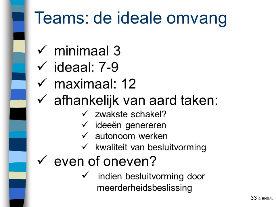 Teams: de ideale omvang