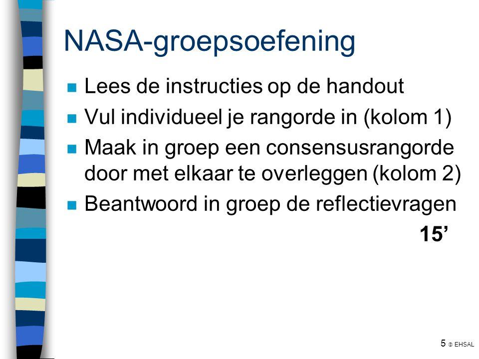 NASA-groepsoefening HIERNA PAUZE Lees de instructies op de handout