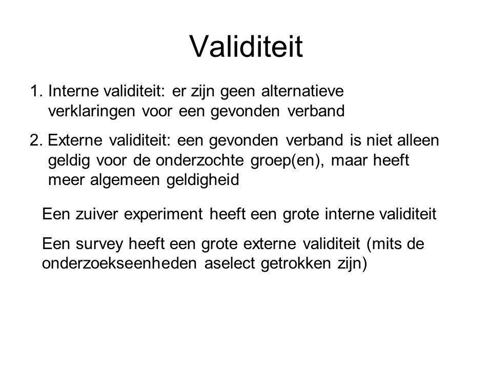 Validiteit Interne validiteit: er zijn geen alternatieve verklaringen voor een gevonden verband.