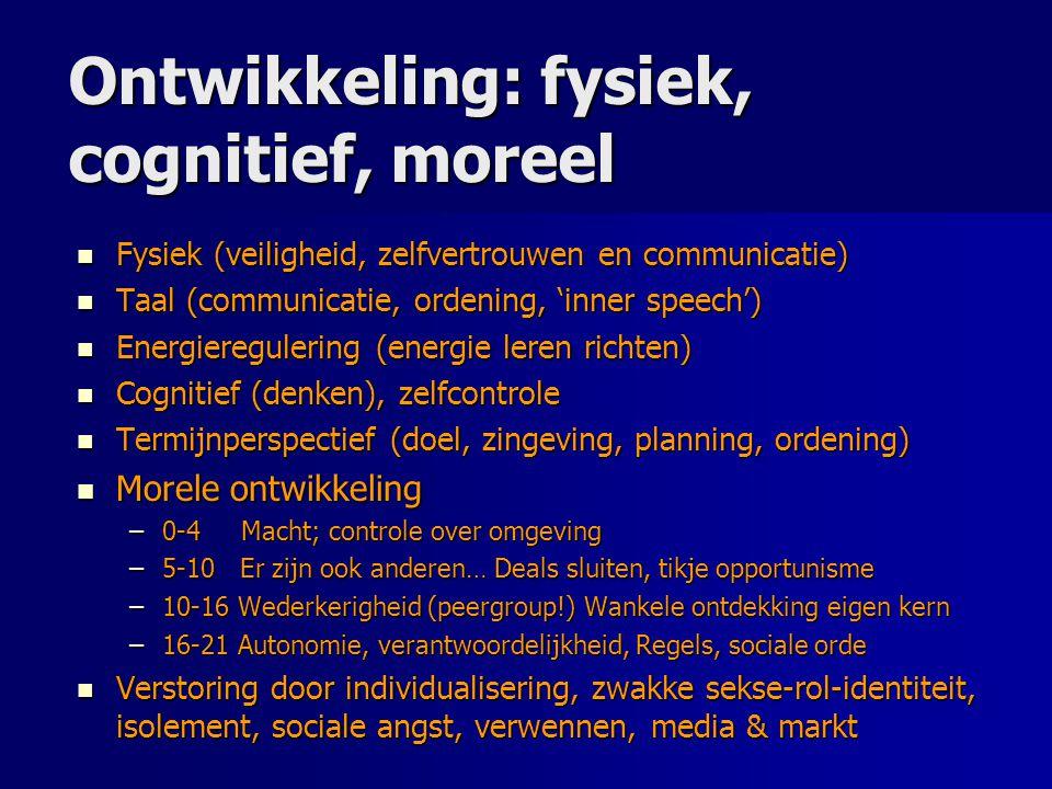 Ontwikkeling: fysiek, cognitief, moreel