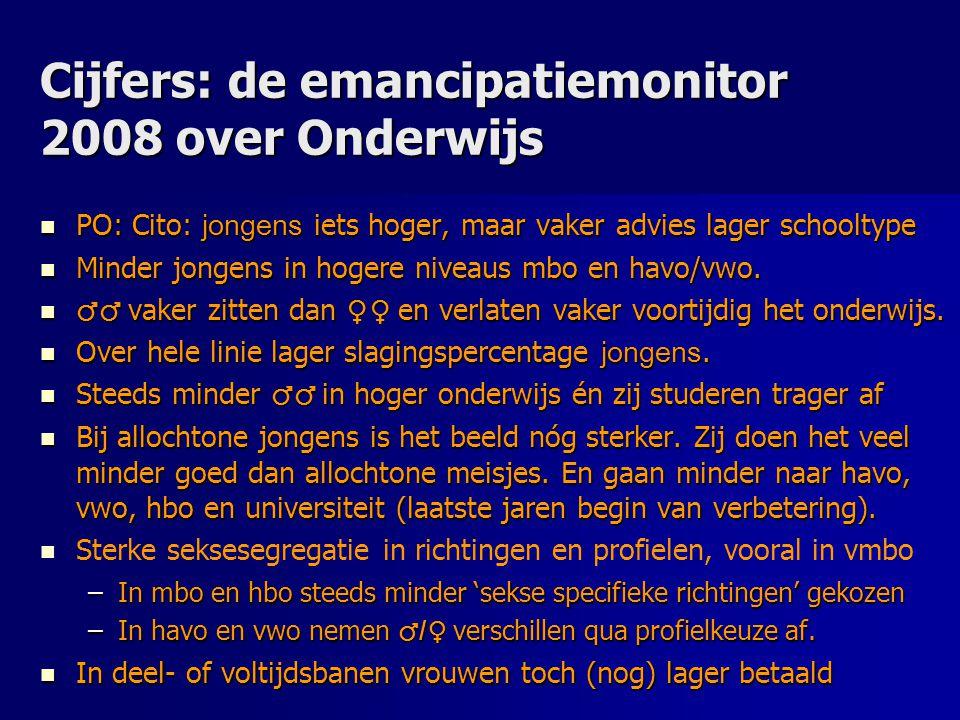 Cijfers: de emancipatiemonitor 2008 over Onderwijs